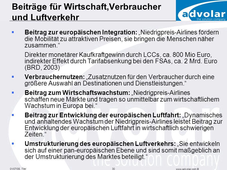 01/07/05, Titel www.advolar.com © 30 Beiträge für Wirtschaft,Verbraucher und Luftverkehr Beitrag zur europäischen Integration: Niedrigpreis-Airlines fördern die Mobilität zu attraktiven Preisen, sie bringen die Menschen näher zusammen.
