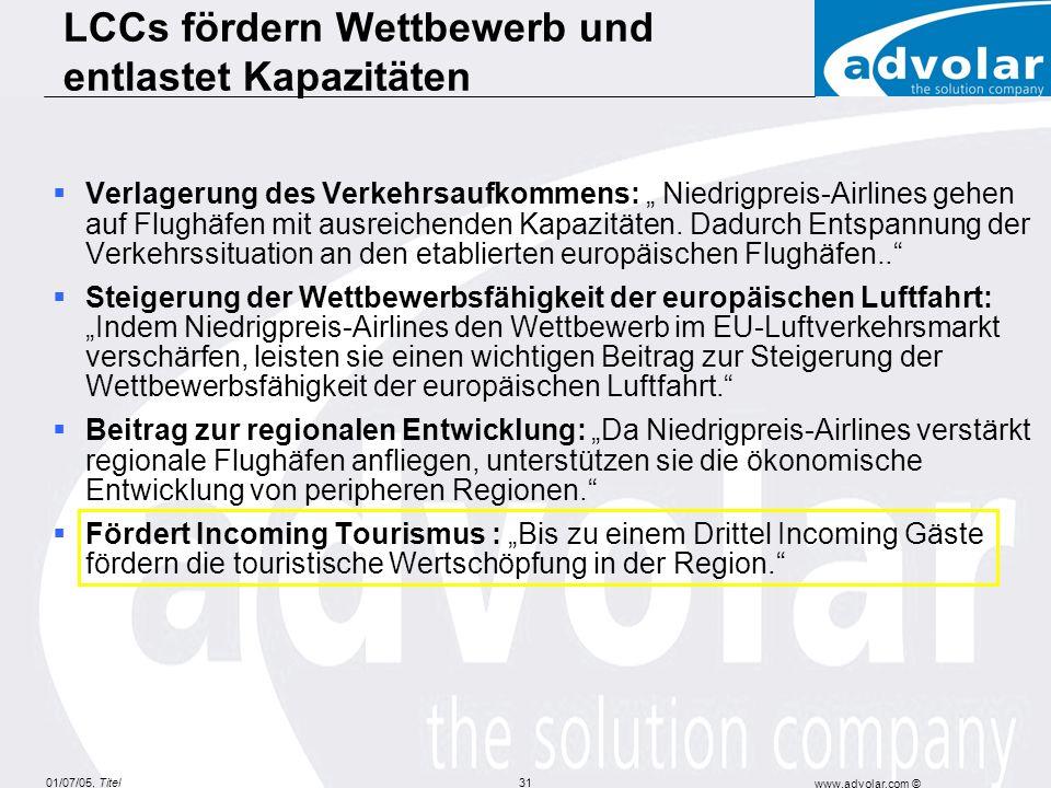 01/07/05, Titel www.advolar.com © 31 Verlagerung des Verkehrsaufkommens: Niedrigpreis-Airlines gehen auf Flughäfen mit ausreichenden Kapazitäten.