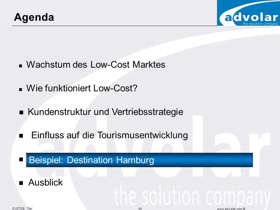 01/07/05, Titel www.advolar.com © 44 Agenda Wachstum des Low-Cost Marktes Wie funktioniert Low-Cost? Kundenstruktur und Vertriebsstrategie Einfluss au