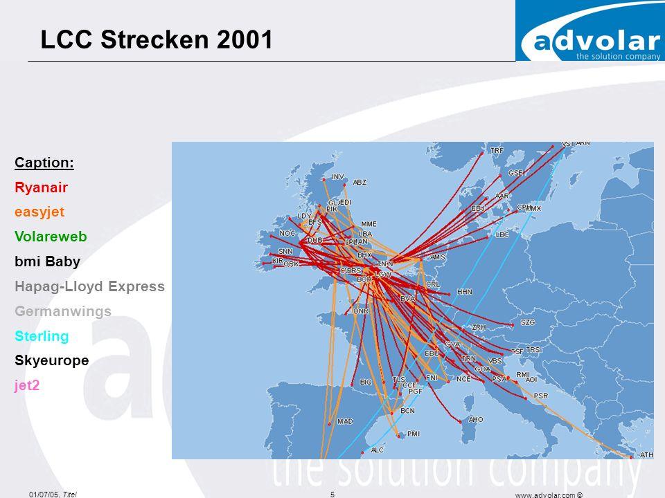 01/07/05, Titel www.advolar.com © 16 Preisentwicklung nach Art der Fluglinien 1,2 Index 1 Erhebung 5.3.2003-11.3.2003, indizierter gleitender Durchschnitt, (Basis: one-way inkl.