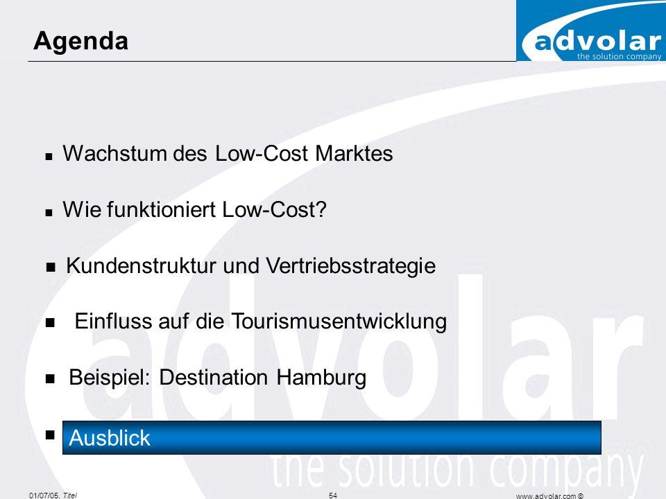 01/07/05, Titel www.advolar.com © 54 Agenda Wachstum des Low-Cost Marktes Wie funktioniert Low-Cost? Kundenstruktur und Vertriebsstrategie Einfluss au
