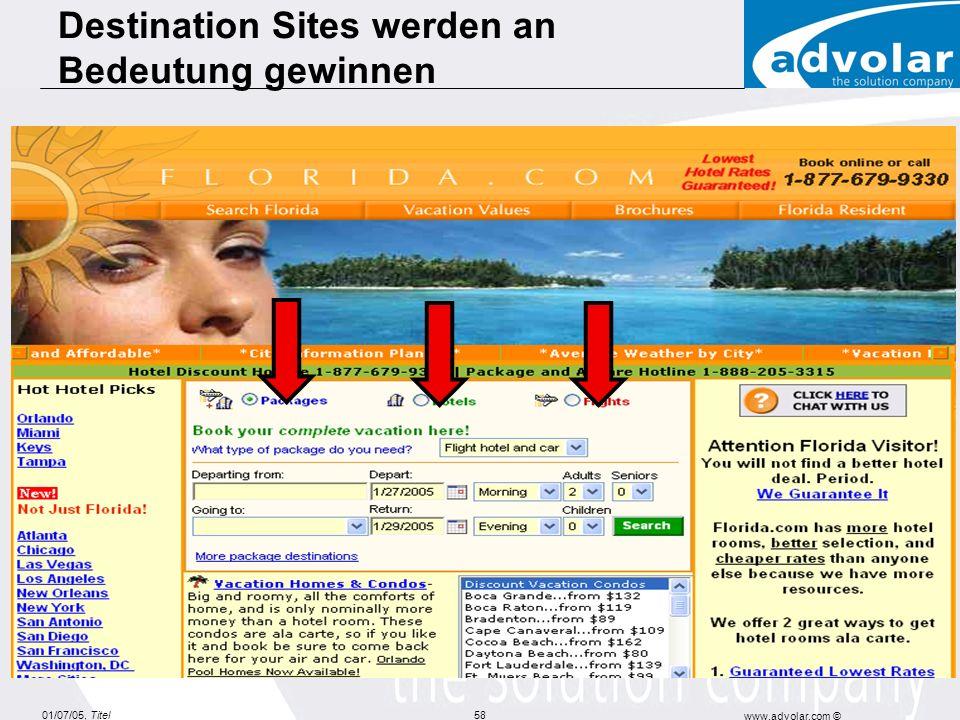 01/07/05, Titel www.advolar.com © 58 Destination Sites werden an Bedeutung gewinnen