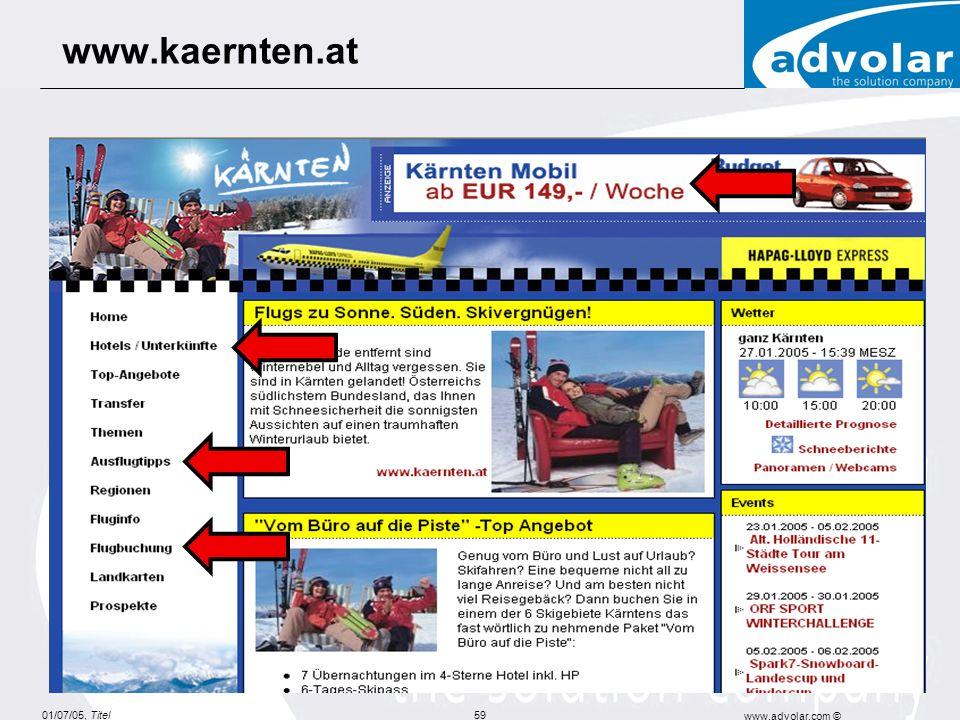 01/07/05, Titel www.advolar.com © 59 www.kaernten.at