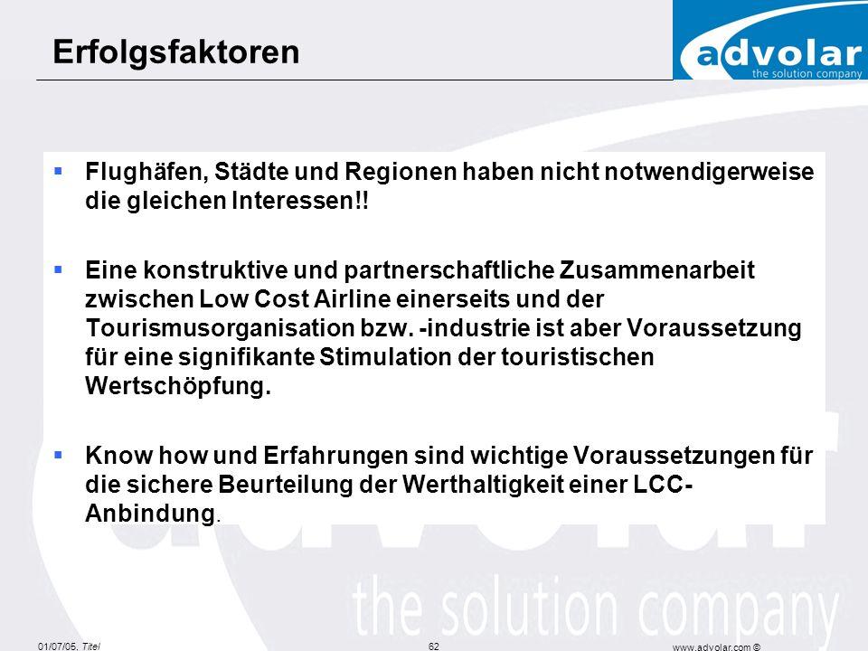 01/07/05, Titel www.advolar.com © 62 Flughäfen, Städte und Regionen haben nicht notwendigerweise die gleichen Interessen!.