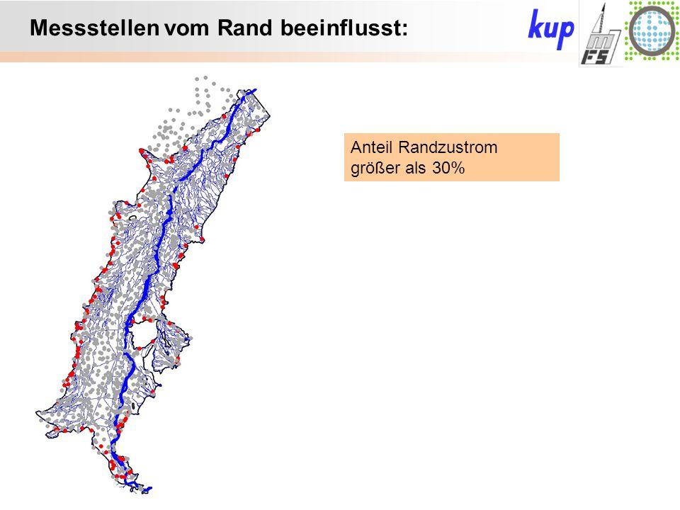 Untersuchungsgebiet: Messstellen vom Rand beeinflusst: Anteil Randzustrom größer als 30%