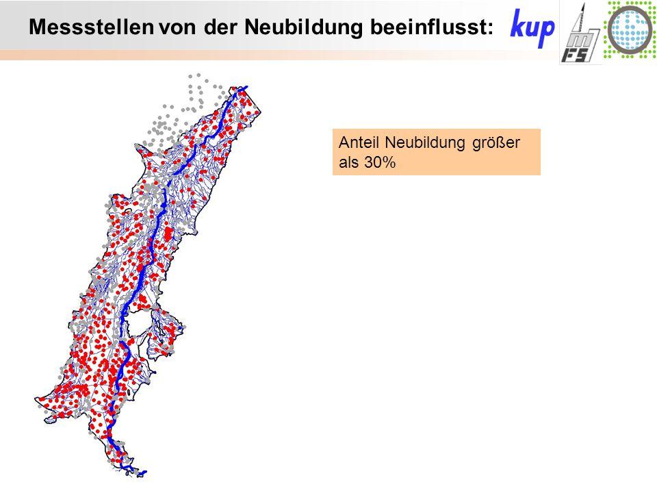 Untersuchungsgebiet: Messstellen von der Neubildung beeinflusst: Anteil Neubildung größer als 30%