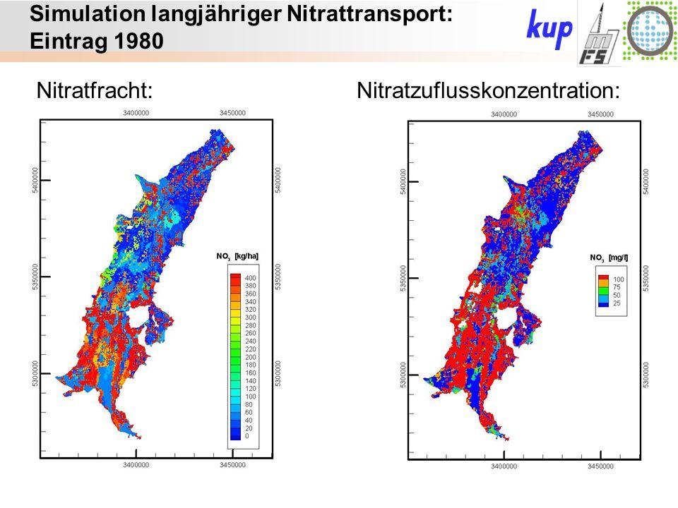 Untersuchungsgebiet: Simulation langjähriger Nitrattransport: Eintrag 1980 Nitratfracht:Nitratzuflusskonzentration: