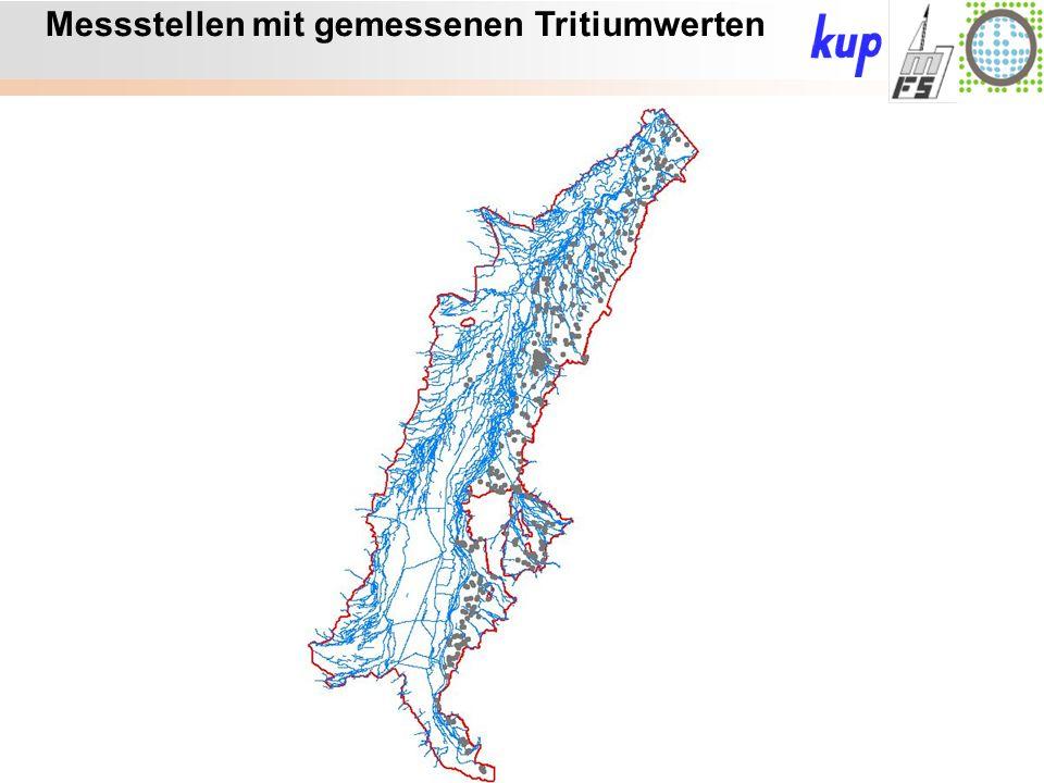 Untersuchungsgebiet: Messstellen mit gemessenen Tritiumwerten