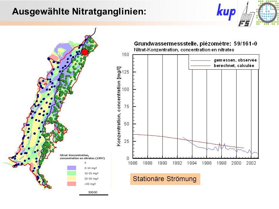 Untersuchungsgebiet: Ausgewählte Nitratganglinien: Stationäre Strömung
