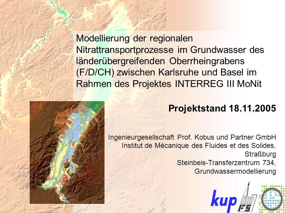 Untersuchungsgebiet: Stationäre Wasserbilanz – Markgräflerland: ZuflussAbfluss Neubildung1,80,0 Austausch mit Rhein1,55,2 Austausch mit Gewässernetz0,92,2 Randzu-/abfluss0,70,0 Entnahmen0,00,4 Festpotential0,0 Austausch mit Teilgebieten5,52,6 Austausch mit Baggerseen0,1 Gesamt:10,5