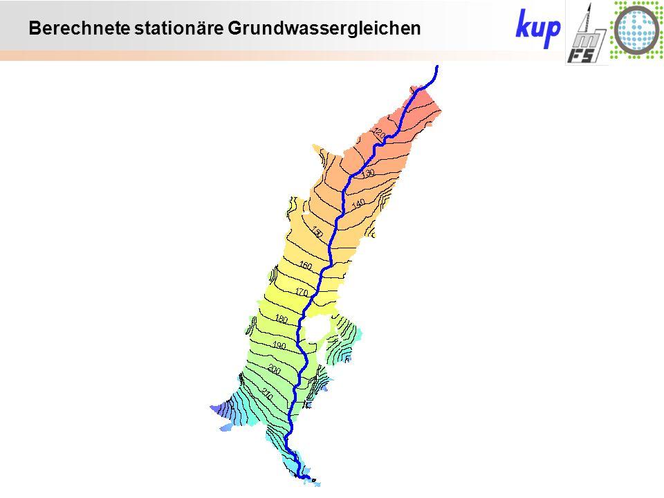 Untersuchungsgebiet: Anmerkungen vorläufiges Eichergebnis: Auf deutscher Seite bleiben Streams trocken In- und Exfiltrationsbereiche plausibel Piezometerhöhen teilweise über GOK: Große Bereiche nur 0 bis 20 cm => Geländemodell in F ok.