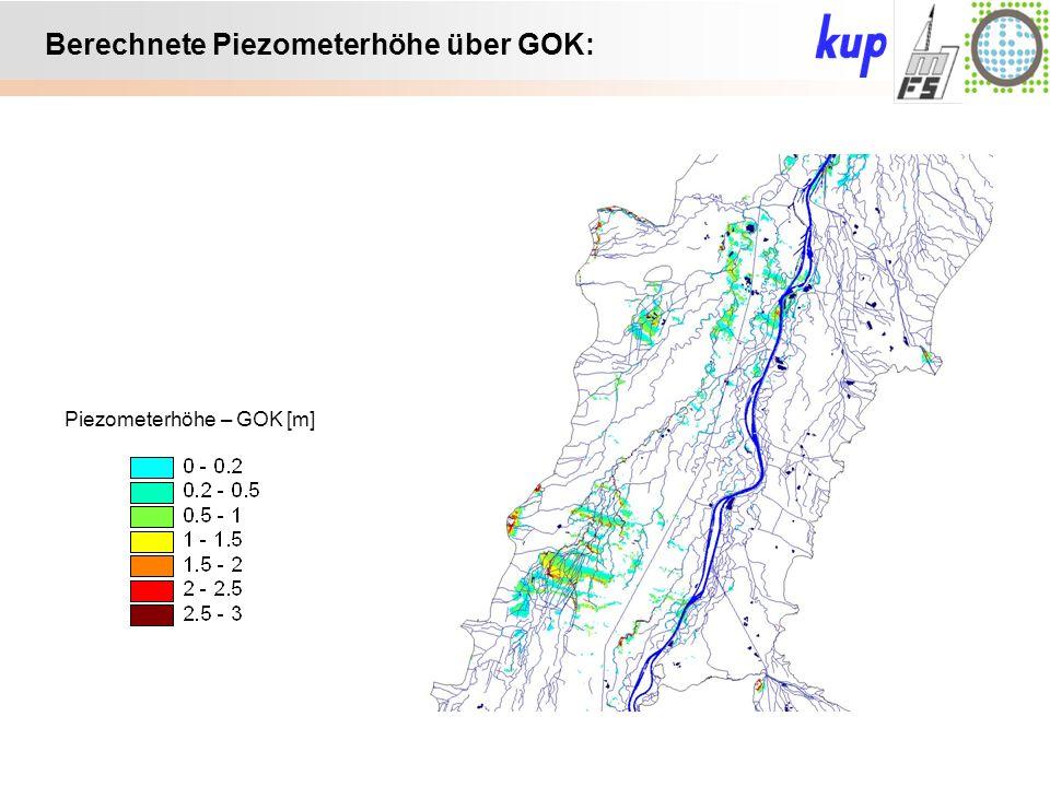 Untersuchungsgebiet: Berechnete Piezometerhöhe über GOK: Piezometerhöhe – GOK [m]