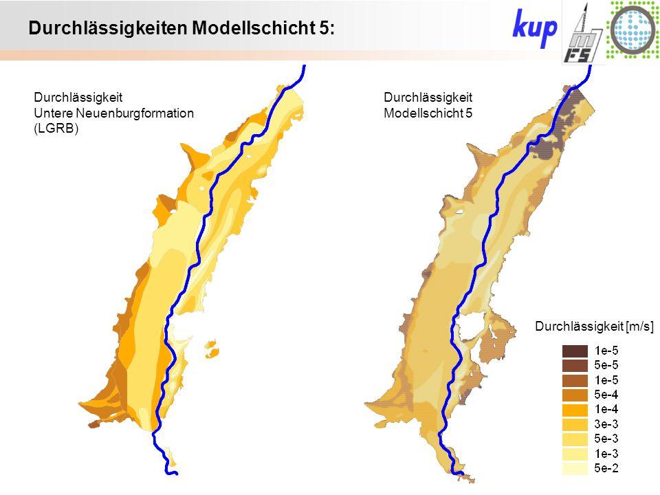 Untersuchungsgebiet: Durchlässigkeiten Modellschicht 5: Durchlässigkeit [m/s] Durchlässigkeit Untere Neuenburgformation (LGRB) Durchlässigkeit Modellschicht 5