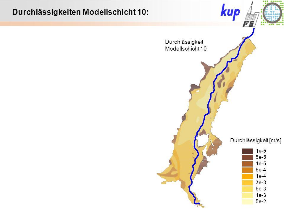 Untersuchungsgebiet: Durchlässigkeiten Modellschicht 10: Durchlässigkeit [m/s] Durchlässigkeit Modellschicht 10