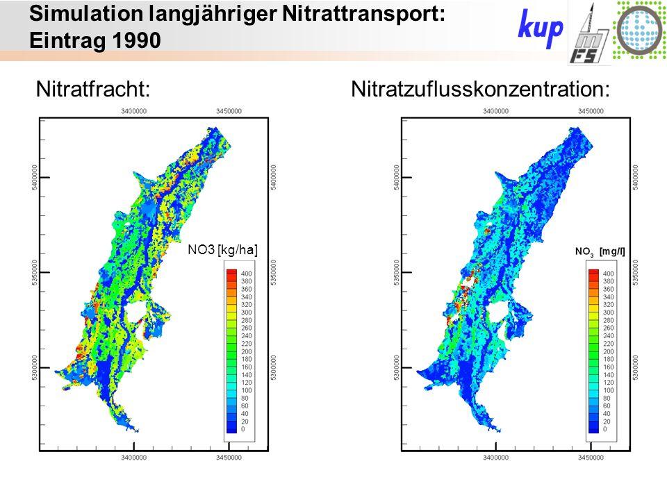 Untersuchungsgebiet: Simulation langjähriger Nitrattransport: Eintrag 1990 Nitratfracht:Nitratzuflusskonzentration: NO3 [kg/ha]
