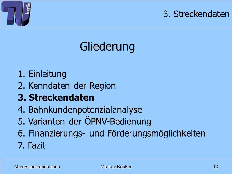 AbschlusspräsentationMarkus Becker13 3. Streckendaten Gliederung 1. Einleitung 2. Kenndaten der Region 3. Streckendaten 4. Bahnkundenpotenzialanalyse