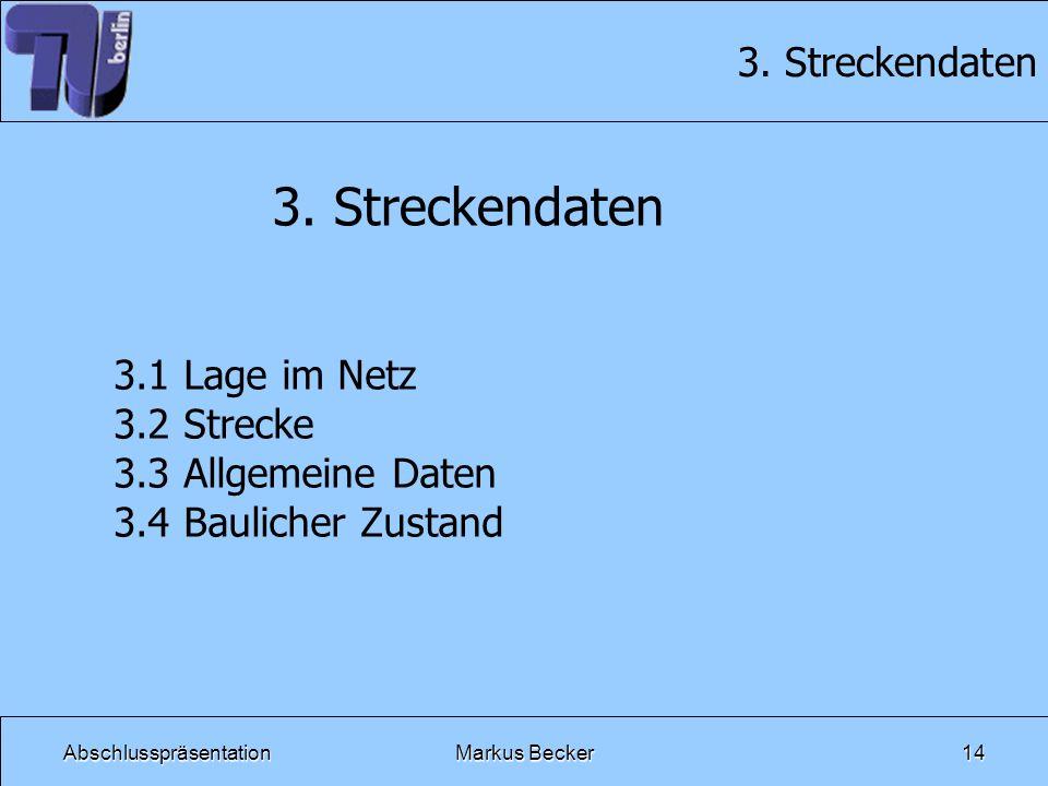 AbschlusspräsentationMarkus Becker14 3. Streckendaten 3.1 Lage im Netz 3.2 Strecke 3.3 Allgemeine Daten 3.4 Baulicher Zustand