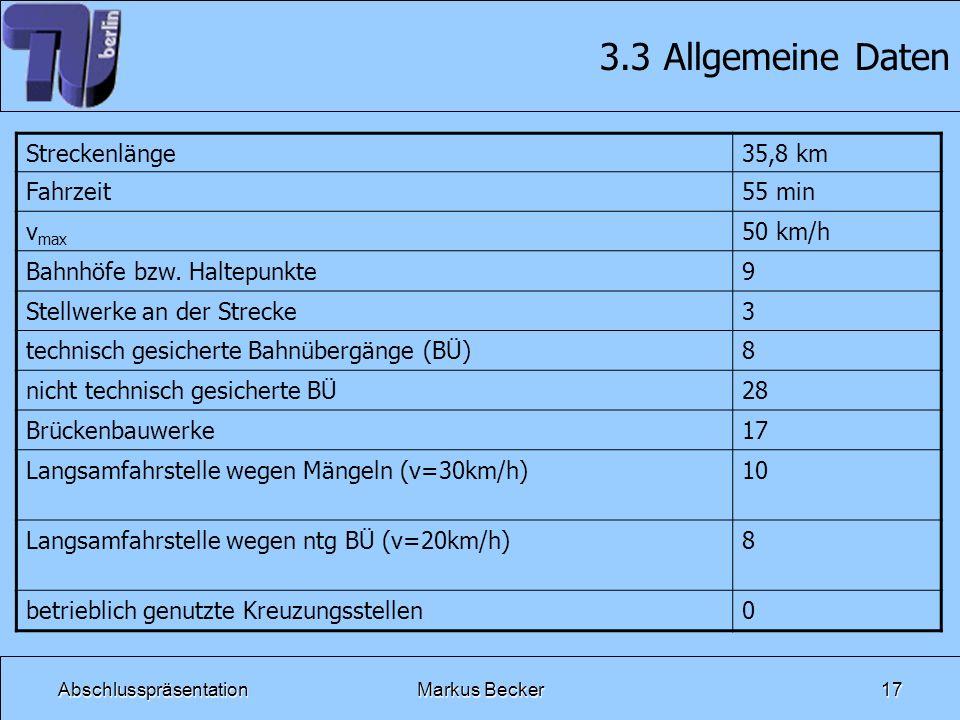 AbschlusspräsentationMarkus Becker17 3.3 Allgemeine Daten Streckenlänge35,8 km Fahrzeit55 min v max 50 km/h Bahnhöfe bzw. Haltepunkte9 Stellwerke an d