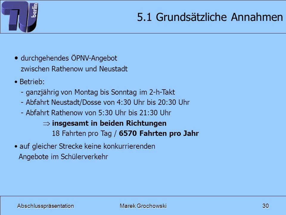 AbschlusspräsentationMarek Grochowski30 5.1 Grundsätzliche Annahmen durchgehendes ÖPNV-Angebot zwischen Rathenow und Neustadt Betrieb: - ganzjährig vo