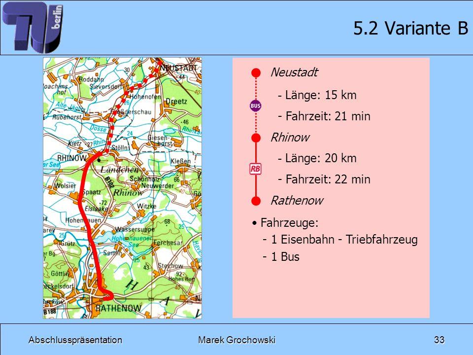 AbschlusspräsentationMarek Grochowski33 5.2 Variante B Neustadt Rhinow Rathenow - Länge: 15 km - Fahrzeit: 21 min - Länge: 20 km - Fahrzeit: 22 min Fa