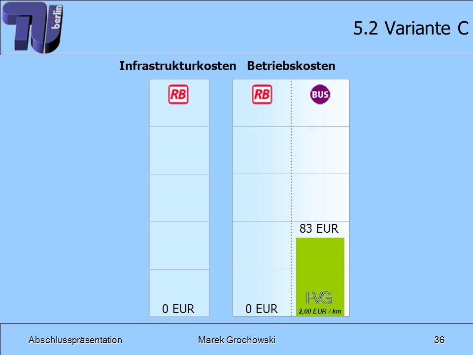 AbschlusspräsentationMarek Grochowski36 5.2 Variante C Infrastrukturkosten 0 EUR Betriebskosten 2,00 EUR / km 83 EUR 0 EUR