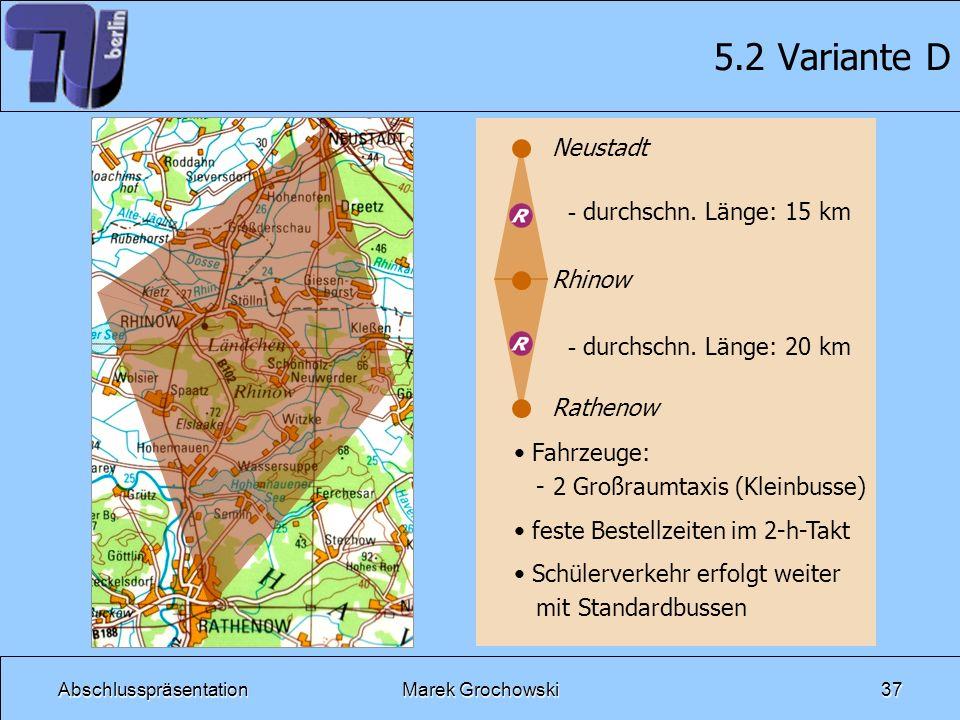 AbschlusspräsentationMarek Grochowski37 5.2 Variante D Neustadt Rhinow Rathenow - durchschn. Länge: 15 km - durchschn. Länge: 20 km Fahrzeuge: - 2 Gro