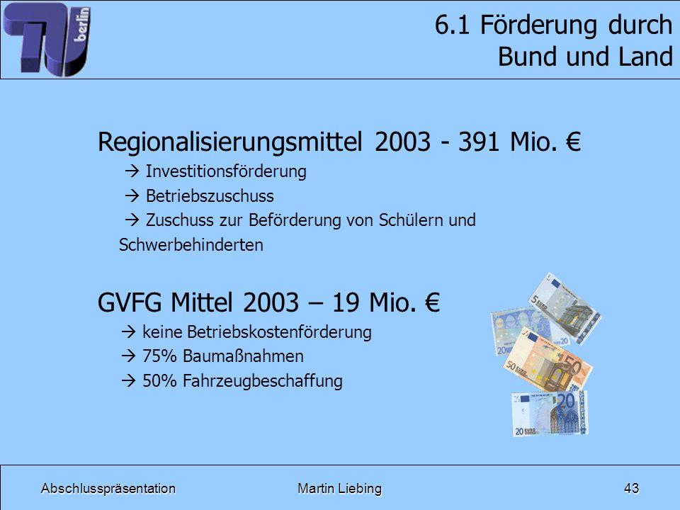 AbschlusspräsentationMartin Liebing43 6.1 Förderung durch Bund und Land Regionalisierungsmittel 2003 - 391 Mio. Investitionsförderung Betriebszuschuss