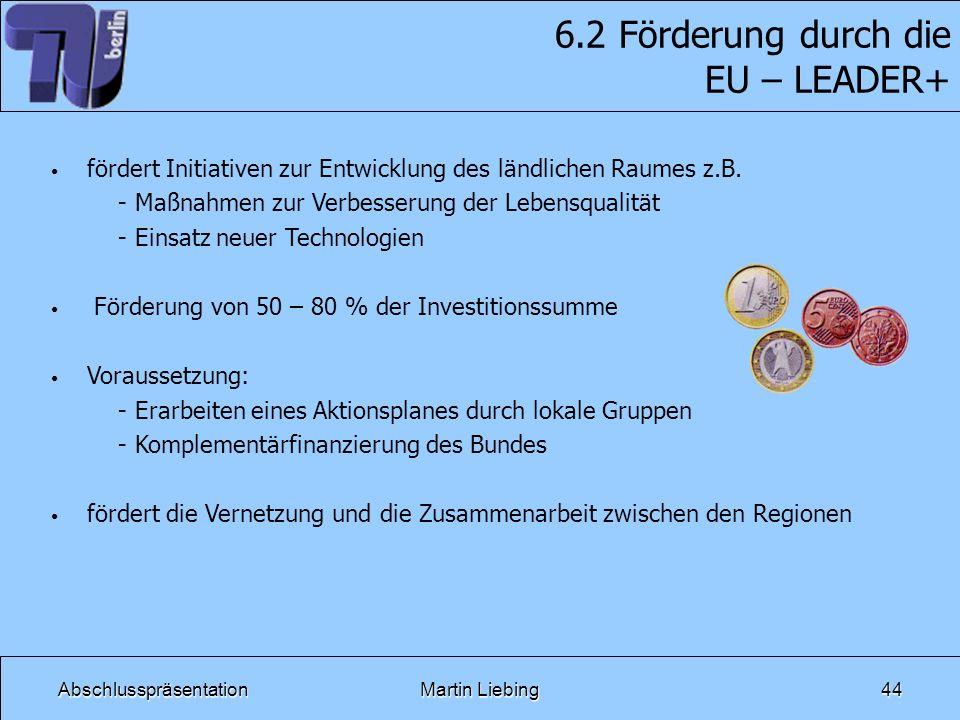 AbschlusspräsentationMartin Liebing44 6.2 Förderung durch die EU – LEADER+ fördert Initiativen zur Entwicklung des ländlichen Raumes z.B. - Maßnahmen