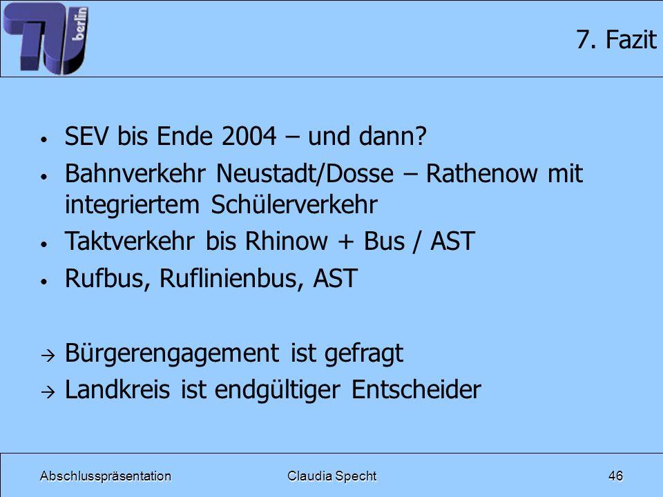 AbschlusspräsentationClaudia Specht46 7. Fazit SEV bis Ende 2004 – und dann? Bahnverkehr Neustadt/Dosse – Rathenow mit integriertem Schülerverkehr Tak