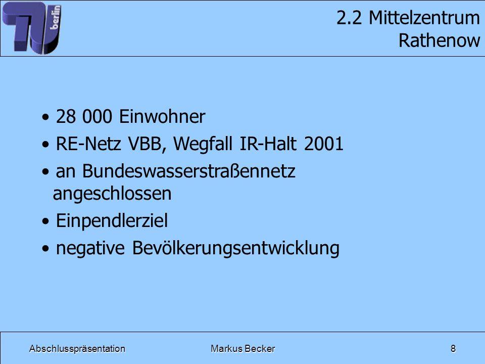 AbschlusspräsentationMarkus Becker19 3.4 Baulicher Zustand - 36 Bahnübergänge - 8 technisch gesicherte Bahnüber- gänge - teilweise Erneuerung der technisch gesicherten notwendig - viele nicht technisch gesicherte Bahnübergänge (28) - Sicherung durch Übersicht - Herstellung der Übersicht, um Lang- samfahrstellen abbauen zu können