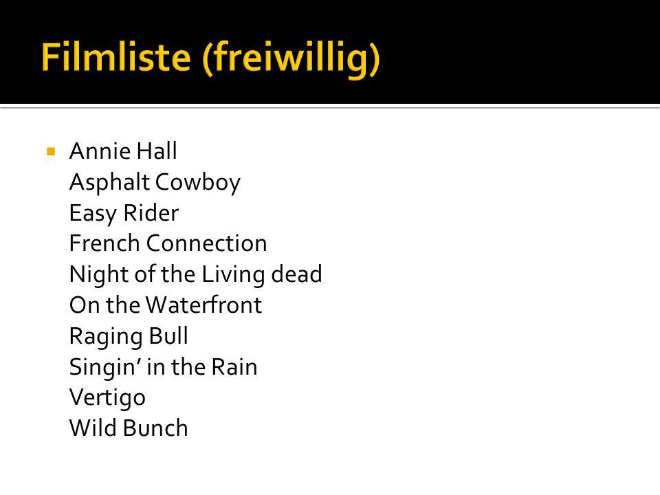 Annie Hall Asphalt Cowboy Easy Rider French Connection Night of the Living dead On the Waterfront Raging Bull Singin in the Rain Vertigo Wild Bunch