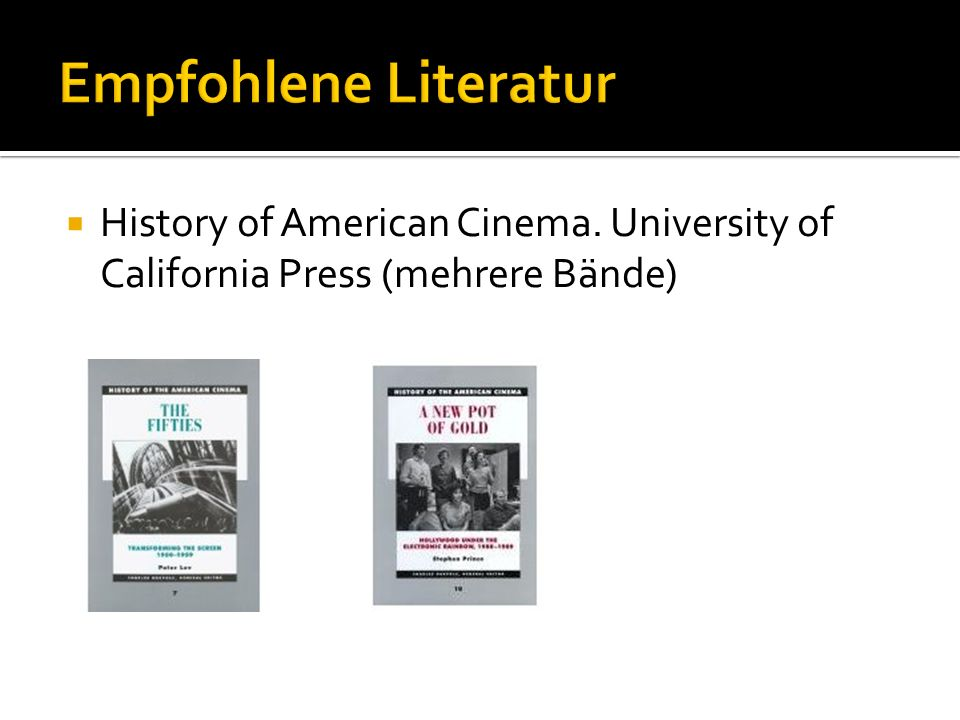 History of American Cinema. University of California Press (mehrere Bände)