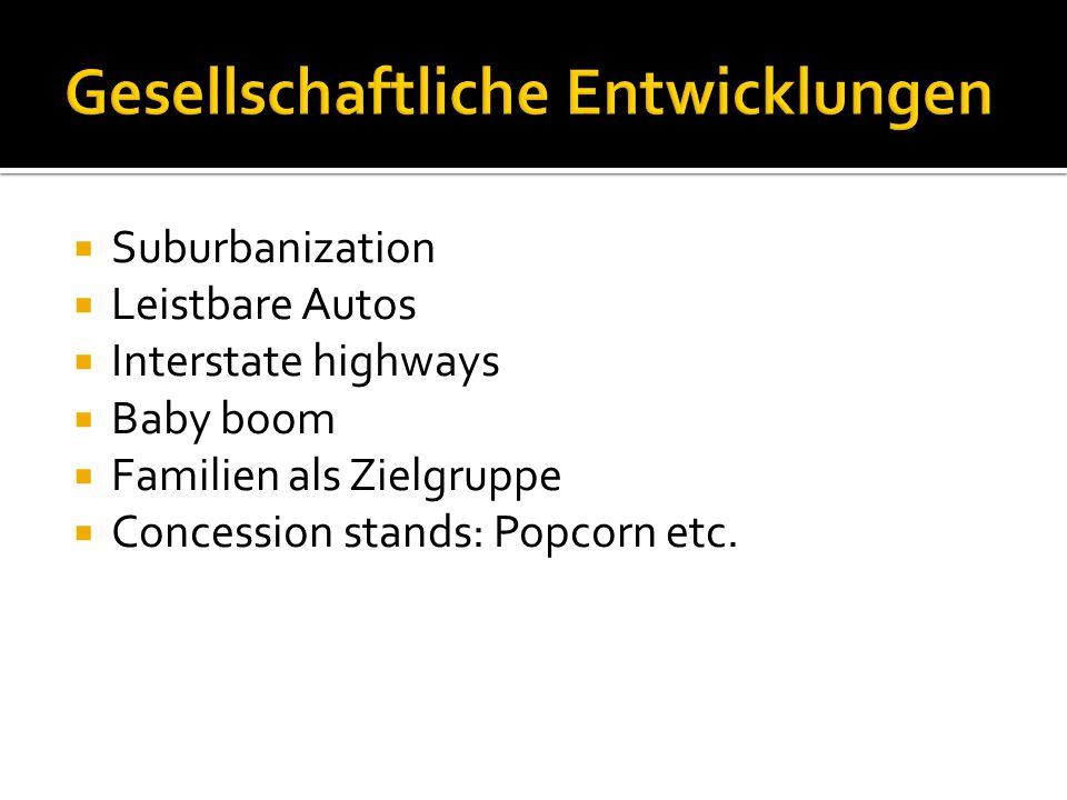 Suburbanization Leistbare Autos Interstate highways Baby boom Familien als Zielgruppe Concession stands: Popcorn etc.