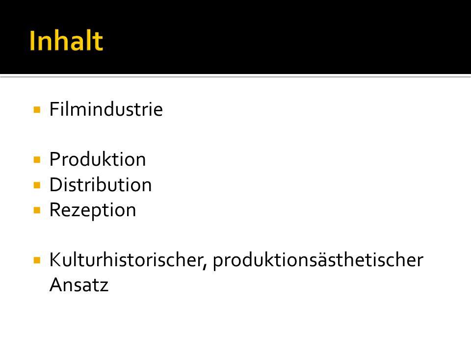 Filmindustrie Produktion Distribution Rezeption Kulturhistorischer, produktionsästhetischer Ansatz