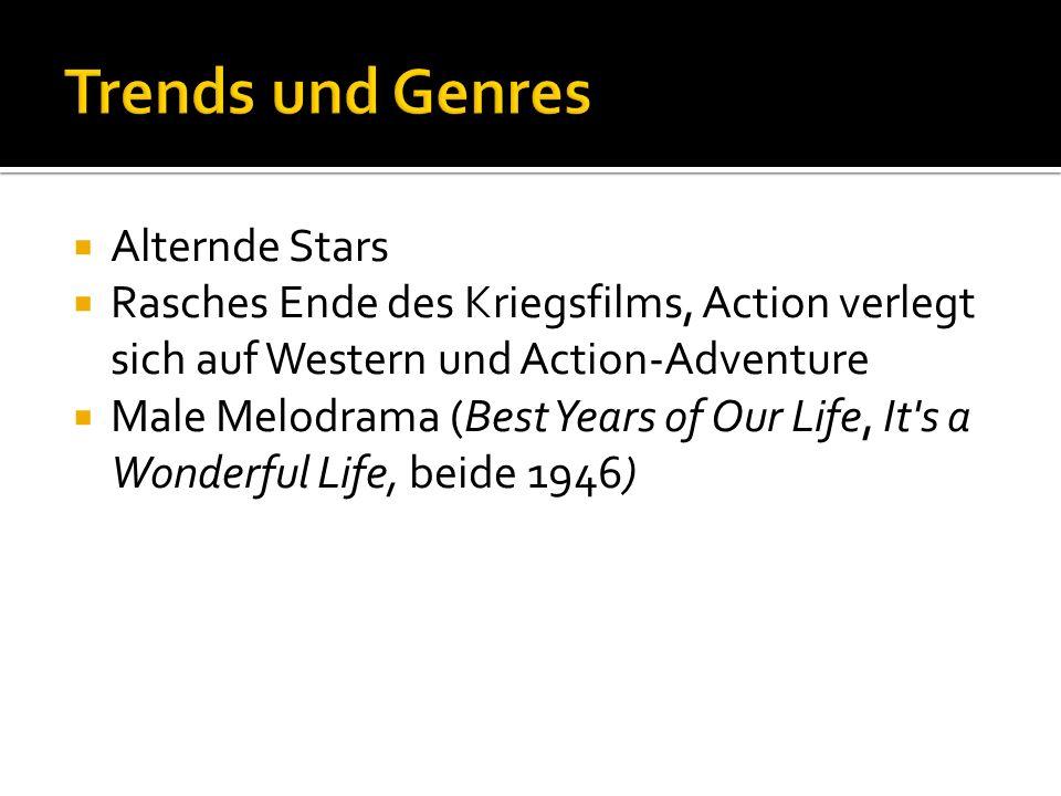 Alternde Stars Rasches Ende des Kriegsfilms, Action verlegt sich auf Western und Action-Adventure Male Melodrama (Best Years of Our Life, It s a Wonderful Life, beide 1946)