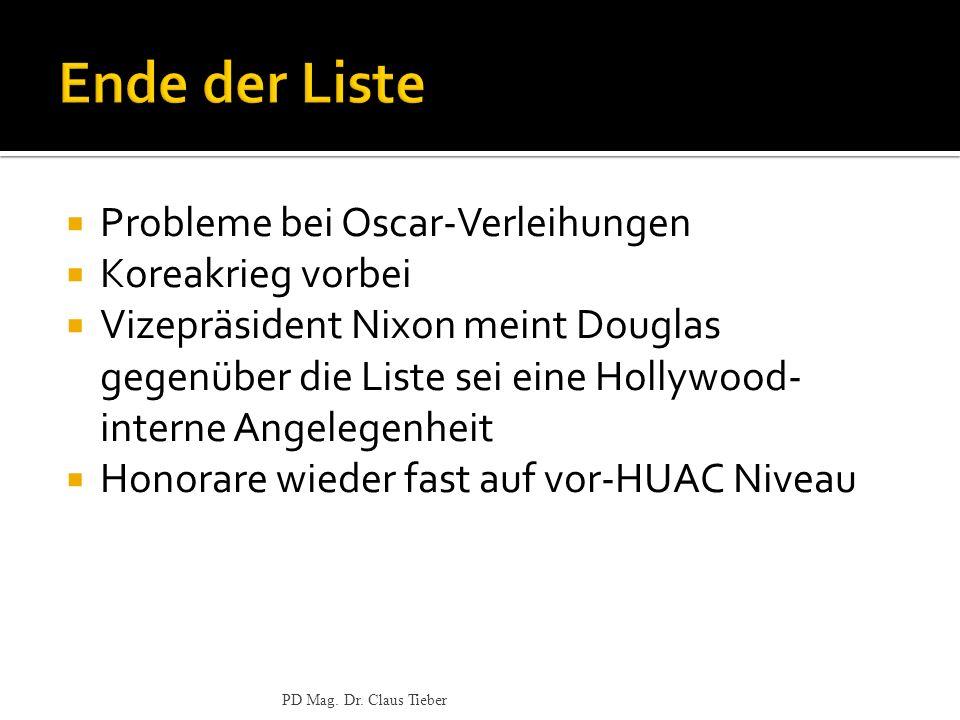 Probleme bei Oscar-Verleihungen Koreakrieg vorbei Vizepräsident Nixon meint Douglas gegenüber die Liste sei eine Hollywood- interne Angelegenheit Honorare wieder fast auf vor-HUAC Niveau PD Mag.