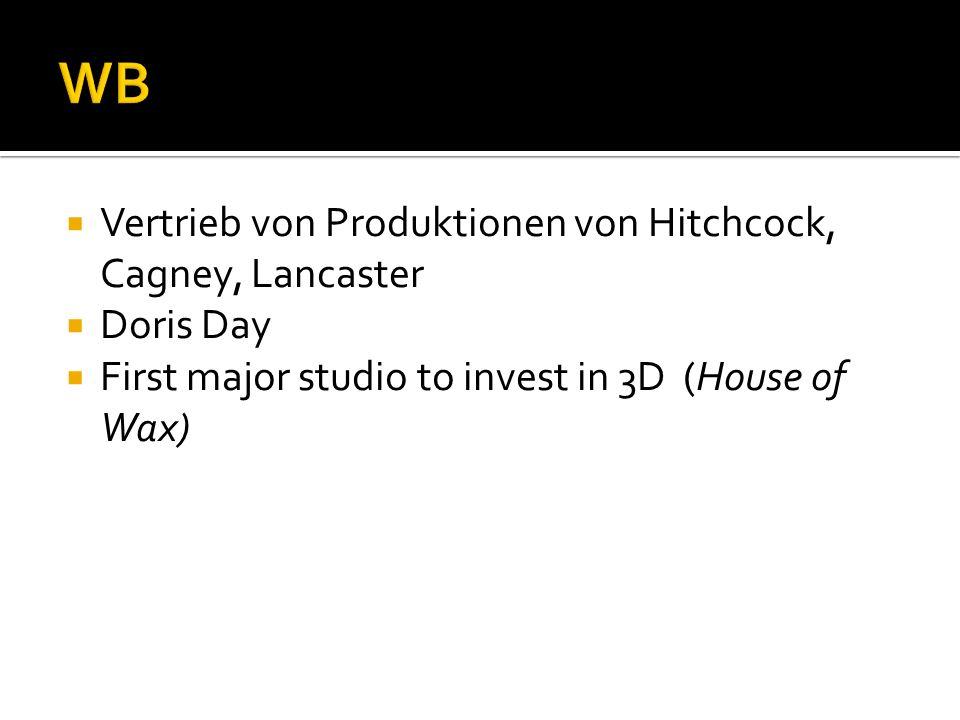 Vertrieb von Produktionen von Hitchcock, Cagney, Lancaster Doris Day First major studio to invest in 3D (House of Wax)