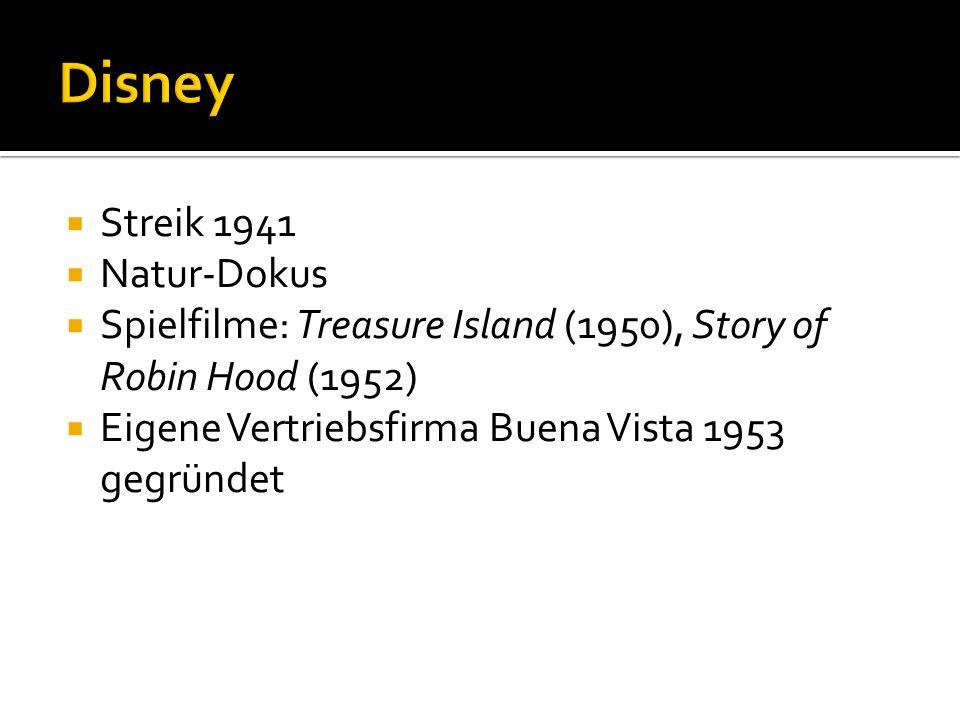 Streik 1941 Natur-Dokus Spielfilme: Treasure Island (1950), Story of Robin Hood (1952) Eigene Vertriebsfirma Buena Vista 1953 gegründet