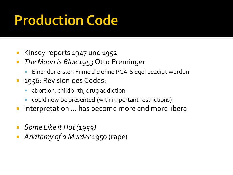 Kinsey reports 1947 und 1952 The Moon Is Blue 1953 Otto Preminger Einer der ersten Filme die ohne PCA-Siegel gezeigt wurden 1956: Revision des Codes: abortion, childbirth, drug addiction could now be presented (with important restrictions) interpretation...