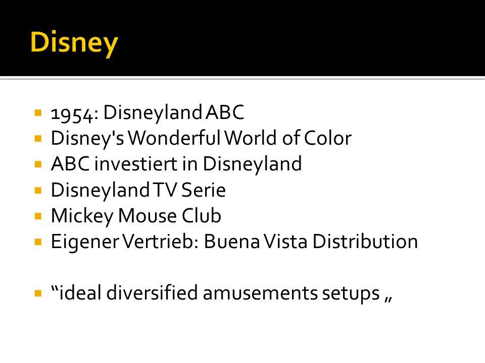 1954: Disneyland ABC Disney s Wonderful World of Color ABC investiert in Disneyland Disneyland TV Serie Mickey Mouse Club Eigener Vertrieb: Buena Vista Distribution ideal diversified amusements setups
