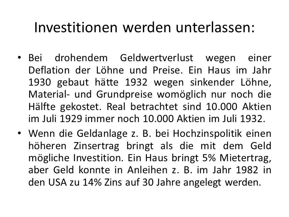 Investitionen werden unterlassen: Bei drohendem Geldwertverlust wegen einer Deflation der Löhne und Preise.