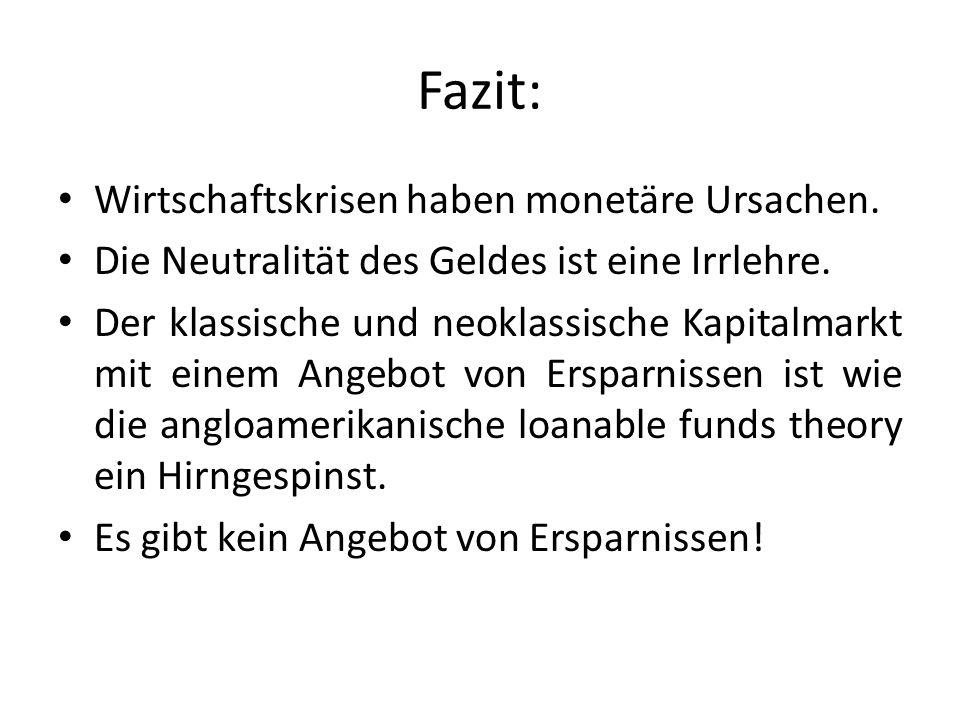Fazit: Wirtschaftskrisen haben monetäre Ursachen.Die Neutralität des Geldes ist eine Irrlehre.