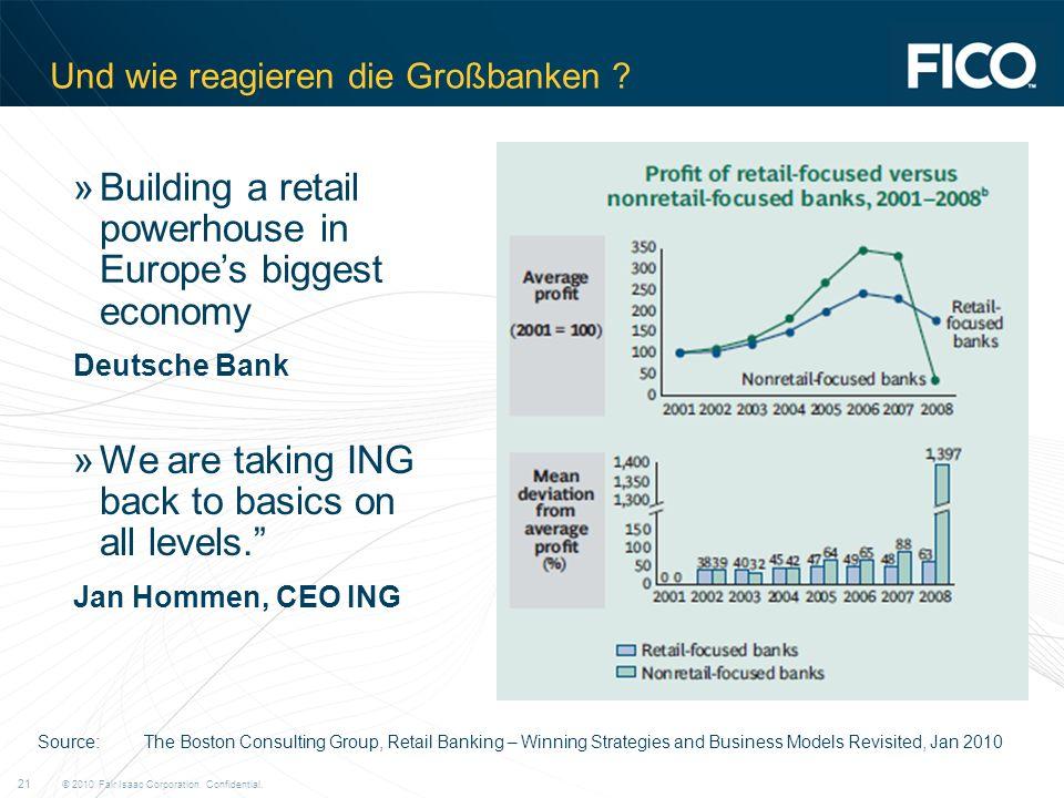 © 2010 Fair Isaac Corporation. Confidential. 21 Und wie reagieren die Großbanken .