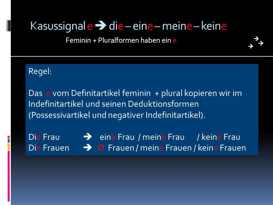 Kasussignal e die – eine – meine – keine Feminin + Pluralformen haben ein e. Regel: Das e vom Definitartikel feminin + plural kopieren wir im Indefini
