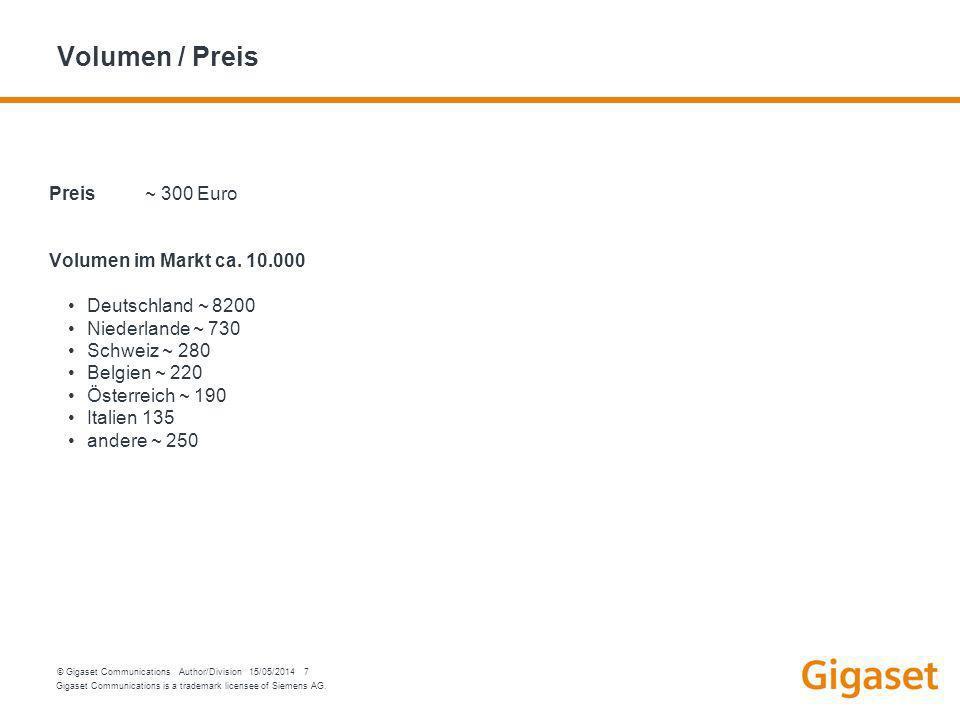 Gigaset Communications is a trademark licensee of Siemens AG. © Gigaset Communications Author/Division 15/05/2014 7 Volumen / Preis Preis ~ 300 Euro V