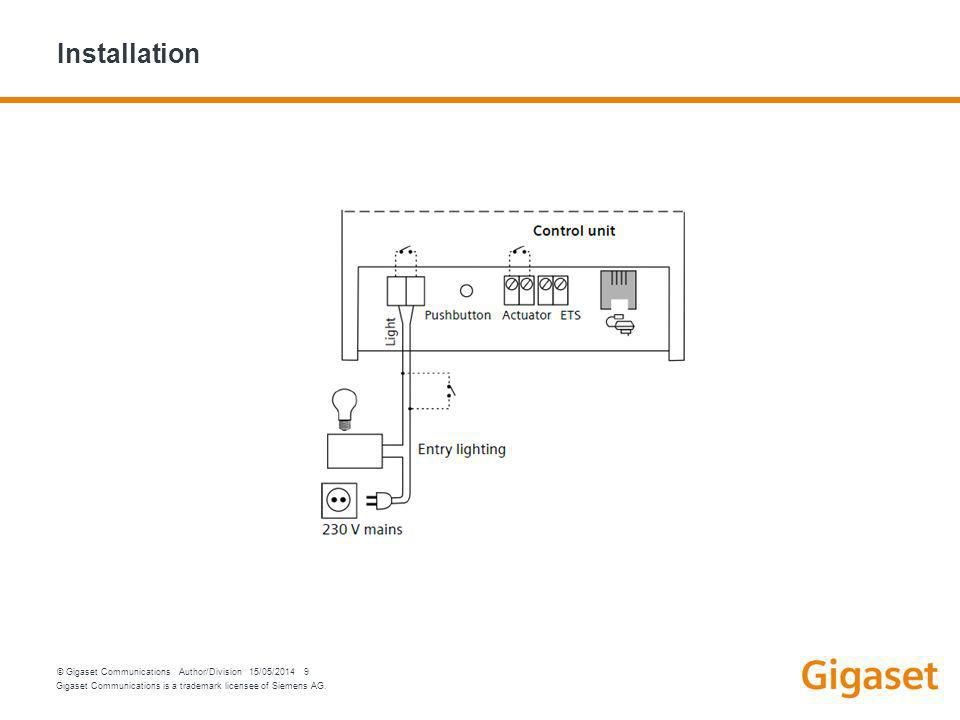 Gigaset Communications is a trademark licensee of Siemens AG. © Gigaset Communications Author/Division 15/05/2014 9 Installation