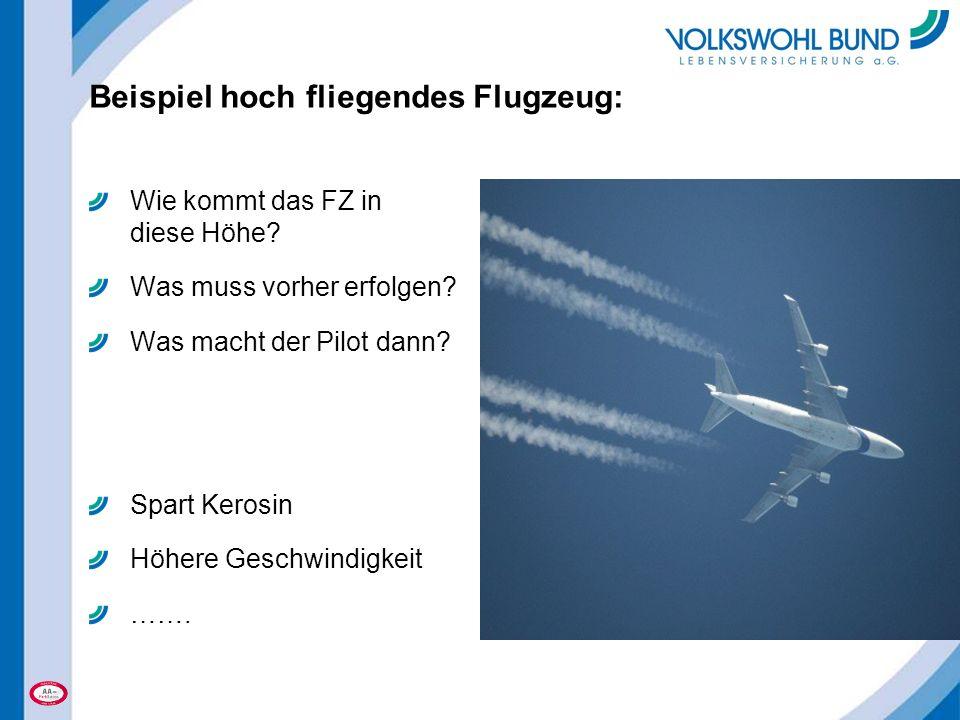 Beispiel hoch fliegendes Flugzeug: Wie kommt das FZ in diese Höhe? Was muss vorher erfolgen? Was macht der Pilot dann? Spart Kerosin Höhere Geschwindi