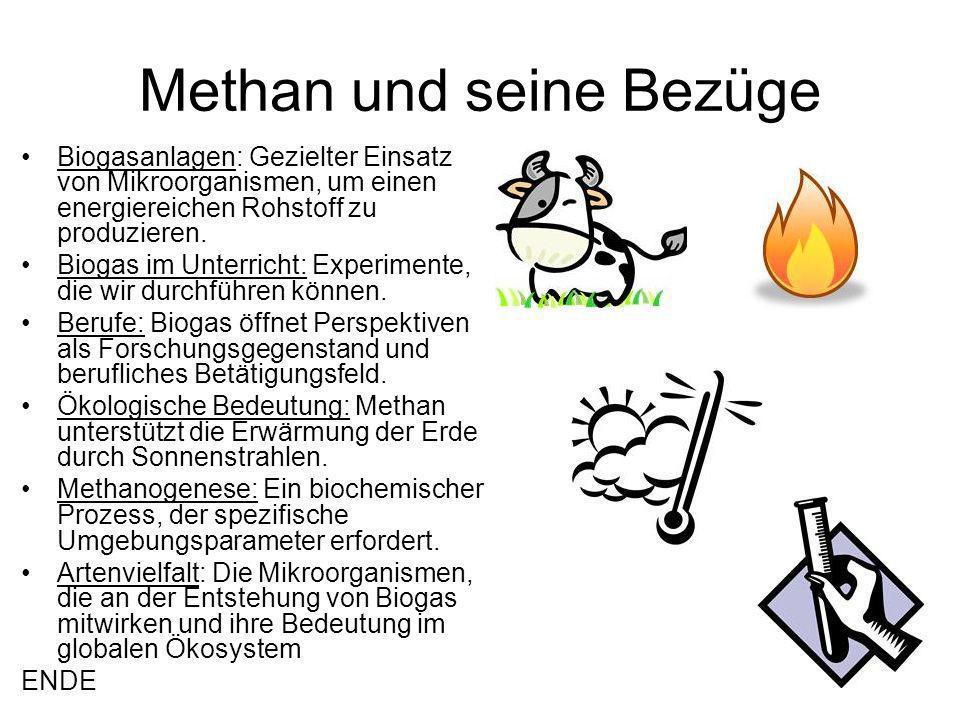 Methan und seine Bezüge Biogasanlagen: Gezielter Einsatz von Mikroorganismen, um einen energiereichen Rohstoff zu produzieren.
