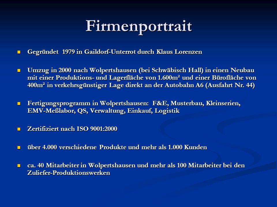 Firmenportrait Gegründet 1979 in Gaildorf-Unterrot durch Klaus Lorenzen Gegründet 1979 in Gaildorf-Unterrot durch Klaus Lorenzen Umzug in 2000 nach Wolpertshausen (bei Schwäbisch Hall) in einen Neubau mit einer Produktions- und Lagerfläche von 1.600m² und einer Bürofläche von 400m² in verkehrsgünstiger Lage direkt an der Autobahn A6 (Ausfahrt Nr.