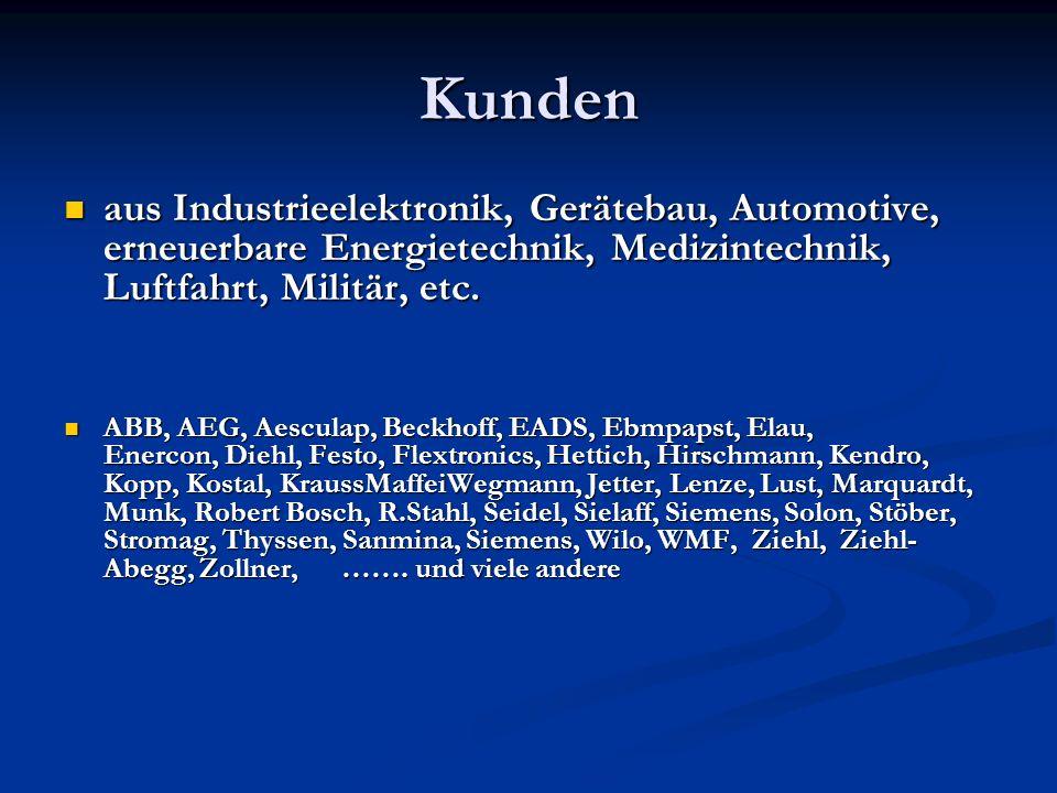 Kunden aus Industrieelektronik, Gerätebau, Automotive, erneuerbare Energietechnik, Medizintechnik, Luftfahrt, Militär, etc.